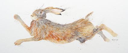 Hand embellished Hare artwork by Kay Johns