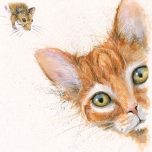 Cat and mouse painting by Kay Johns