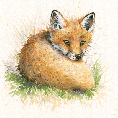 Fox cub hand-embellished limited edition print by Kay Johns
