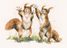 Squirrel hand-embellished limited edition print by Kay Johns