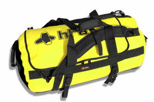 HPA Dry Duffel 90 Liter.  Waterproof 1,000d fabric is extremely durable, inner clear zippered pocket provides organization.  Hand cart compatible and can be worn as a backpack. Available in Black (Negro), Orange (anaranjado) and Yellow (amarillo). Comes complete with Backback straps and handles for easy transport.  Ideal for Winter fishing, SCUBA or International travel.