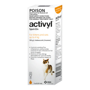 Activyl for Kittens and Cats 2-9 lbs (up to 4 kg) - Single Dose - Orange