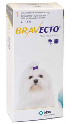 Bravecto For Dogs 4 10 Lbs 2 4 5 Kg Yellow 1 Tablet