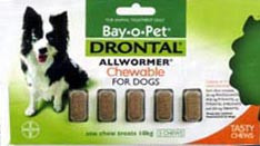 Drontal Allwormer for Dogs & Puppies up to 22 lbs (up to 10 kgs) - 5 Pack Chewable Tablets