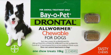 Drontal Allwormer for Dogs & Puppies up to 22 lbs (up to 10 kgs) - 2 Pack Chewable Tablets