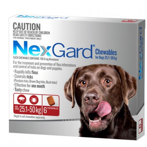 NexGard for dogs 60.1-121 lbs (25.1-50 kgs) - Red - 6 Pack