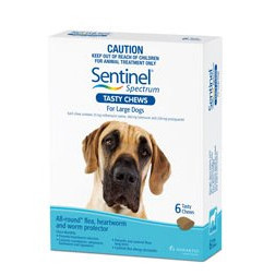 Sentinel Spectrum for Large Dogs 51-100 lbs (22-45 kgs) - White - 6 Pack