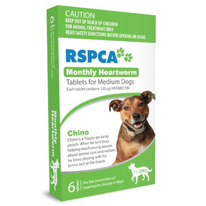 RSPCA Heartworm Tablets for Dogs 23-44 lbs (10-20kg) - 12 Pack - Green