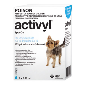 Activyl for Dogs 4-14 lbs (1.5-6.5 kg) - Single Dose - Light Blue