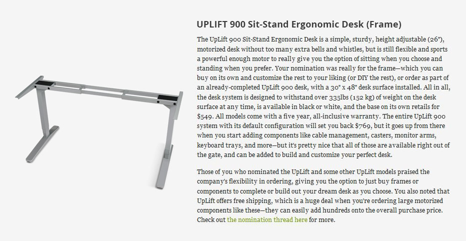 UPLIFT 900 Review Lifehacker Names UPLIFT Desk as One of Five