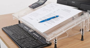 Sturdy transparent acrylic construction supports papers, books and documents