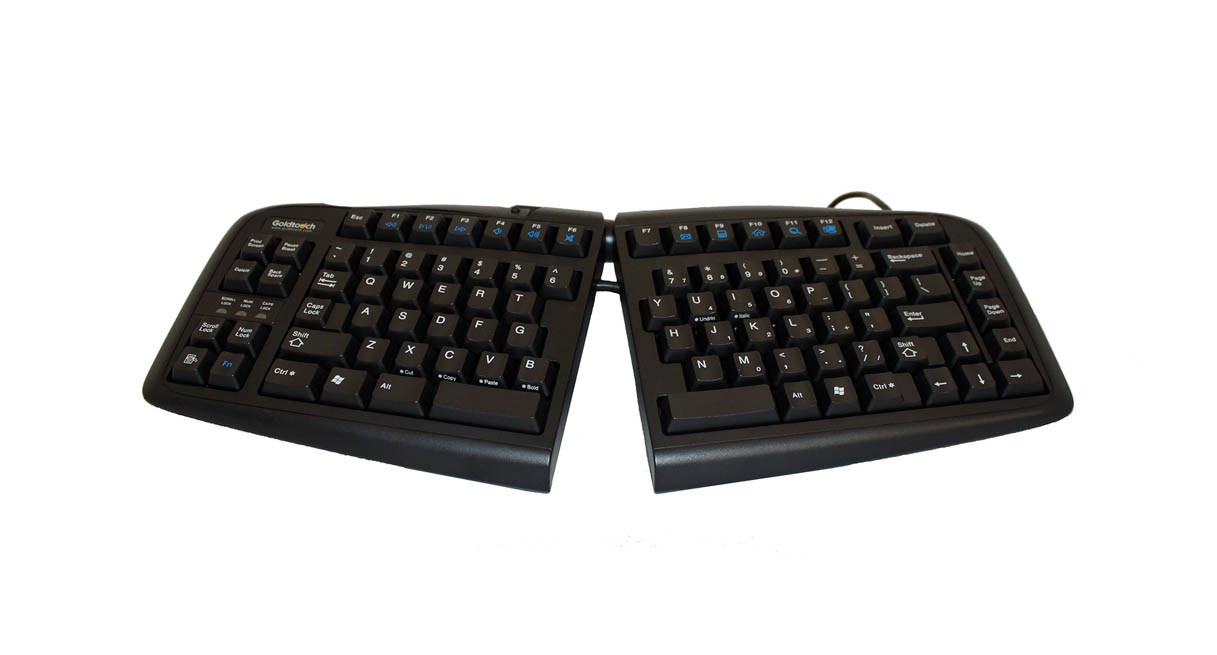 The Goldtouch V2 Adjustable Ergonomic Keyboard's Smart Fit Adjustability design enhances keyboard use for customizable adjustment