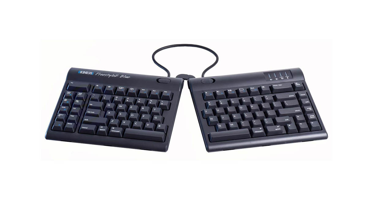 Wirelessly connects to any Bluetooth-enabled Mac, tablet, phone or other device with the Kinesis Freestyle2 Blue Multichannel Bluetooth Keyboard