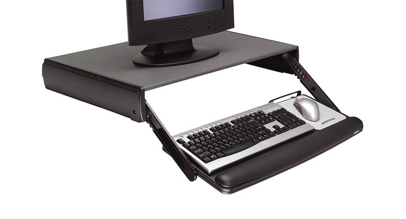 "Keyboard can be lowered as much as 3.75"" below desktop level"