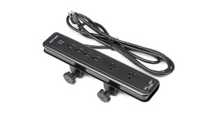 """The UPLIFT Clamp-On Surge Protector with USB Charger clamps onto desktop surfaces 1.375"""" thick or less with 2 adjustable clamp knobs"""