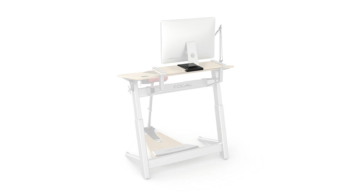 Enjoy an ergonomic workstation when you pair your Locus desk with the Focal iMac Monitor Bracket