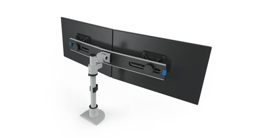 Monitors pivot independently for viewing in both landscape and portrait viewing modes