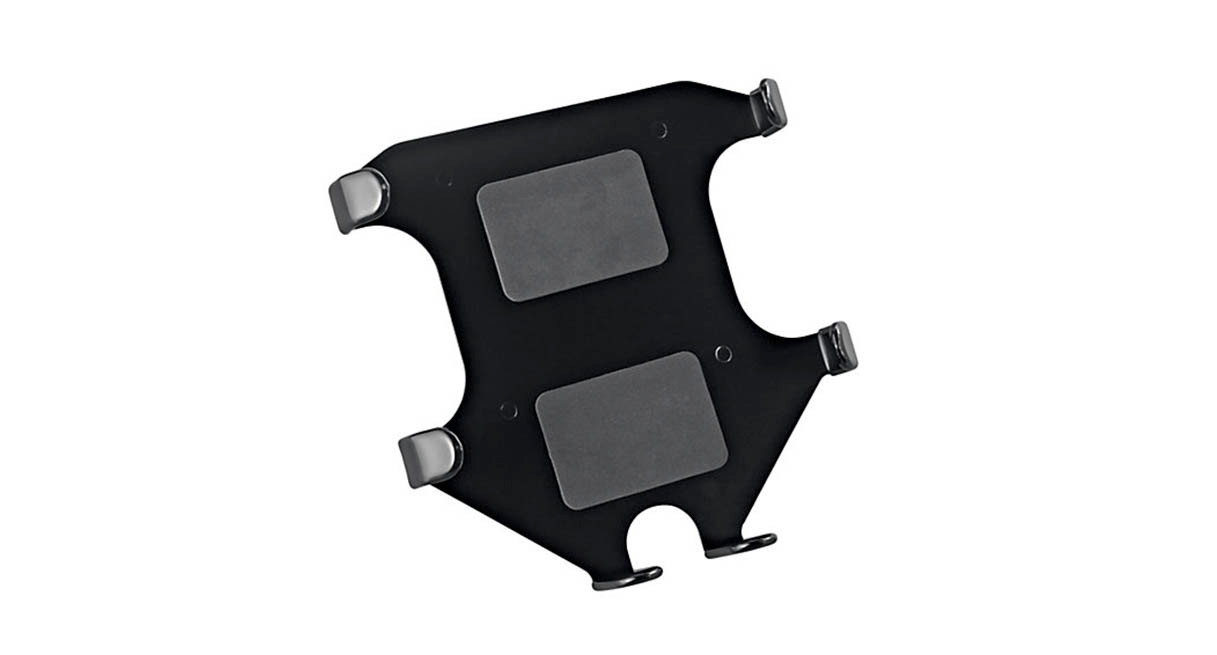 Anti-slip pads and rubber braces hold tablet securely
