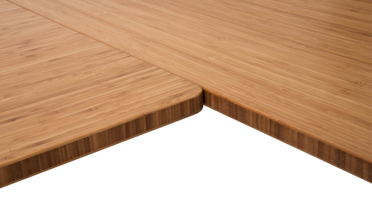 Close up of the inside corner on the L-Shaped Bamboo Desk