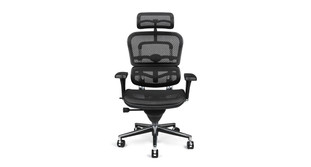 The ErgohumSleek black mesh matches with nearly any office stylean Chair's cylinder raises and lowers chair pneumatically