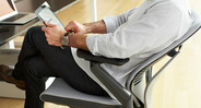 The padded seat also features passive cushion edges that flex to minimize pressure against the thighs