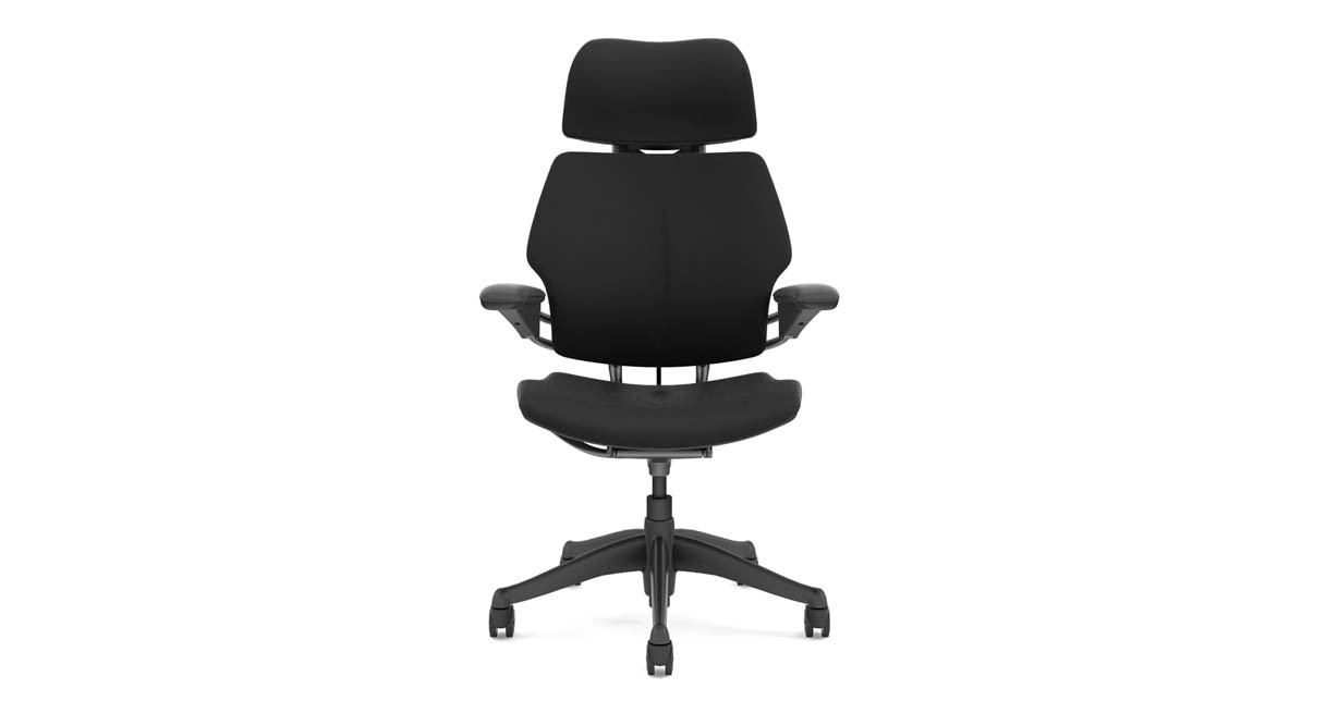 "The Humanscale Freedom Chair with Headrest's counterbalance mechanism supports users ranging in height from 5' 0"" to 6' 4"""