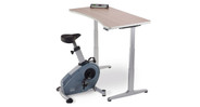 LED console with USB charging port controls pedal resistance and tracks workout stats such as time, distance, and calories burned