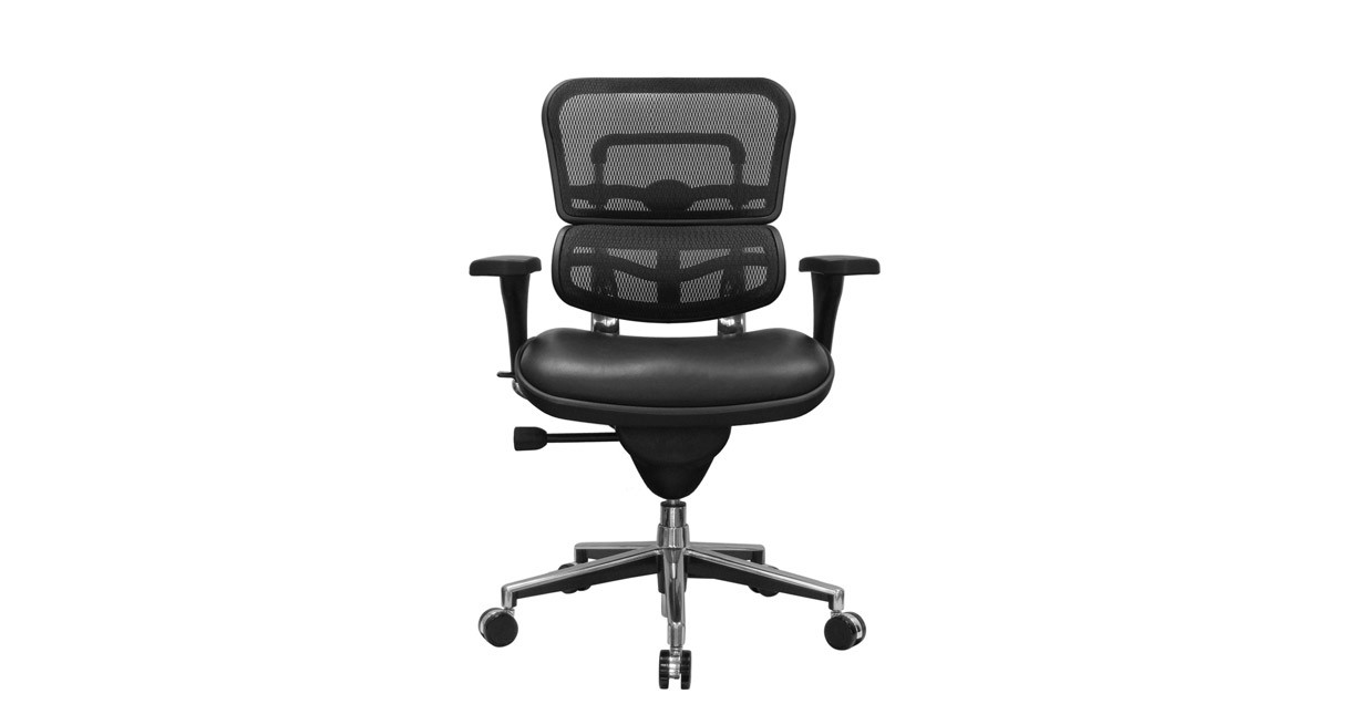 The Raynor Ergohuman Chair's pneumatic height adjustments raise and lower the chair to your ideal sitting height