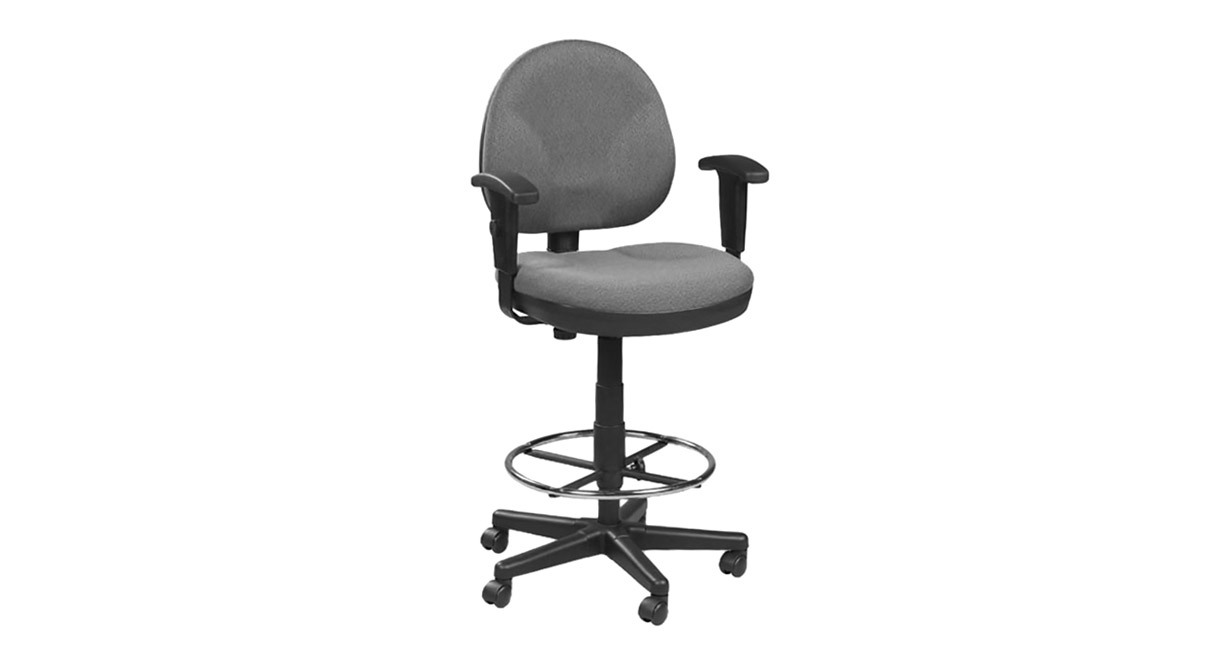 waterfall seat on the eurotech drafting stool with footring oss400 alleviates pressure behind the knees to