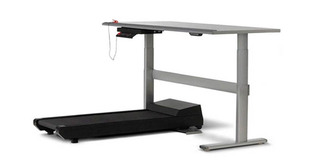 The treadmill for the Walkstation mounts under the right or left side of table