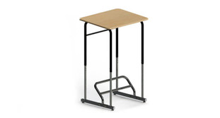 The Stand2Learn Desk features a steel-reinforced hard polymeric desktop