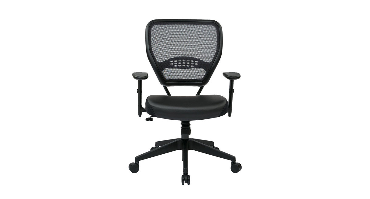 Thickly padded, contoured seat and air grid back