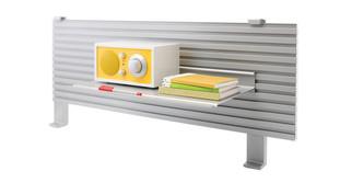 Easily mounts to slatwall or slatrail or sits freestanding on shelf