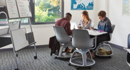 The Steelcase Node Chair swivels and moves for use in a collaborative classroom