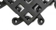 Each tile has six interlocking connectors to prevent separation; countersunk holes for semi-permanent installations