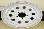 14 Rim 14x6 5Bolt 5x4.5 White 3in Center Mod Trailer Wheel