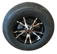 225 75 15 Hercules 12 Ply All Steel Trailer Tire Mounted on Sendel T07 Aluminum Trailer Wheel 5x4.5 5 Bolt with Center Cap ST225/75R15