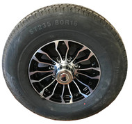 235 80 16 New Loadmaxx 10 ply Trailer Tire Mounted on Pinnacle Aluminum Wheel 8x6.5 8 Bolt with Center Cap ST235/80R16