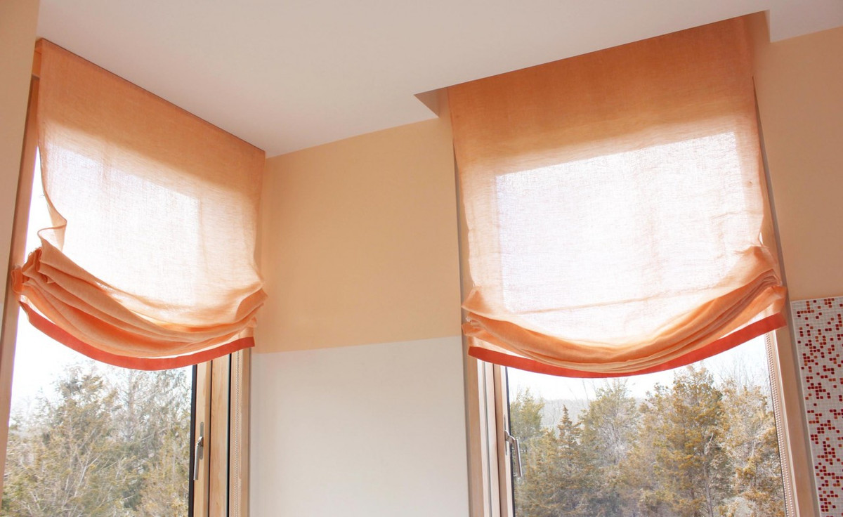 custom casual roman shades by lynn chalk double layer of sheer linen with samuel