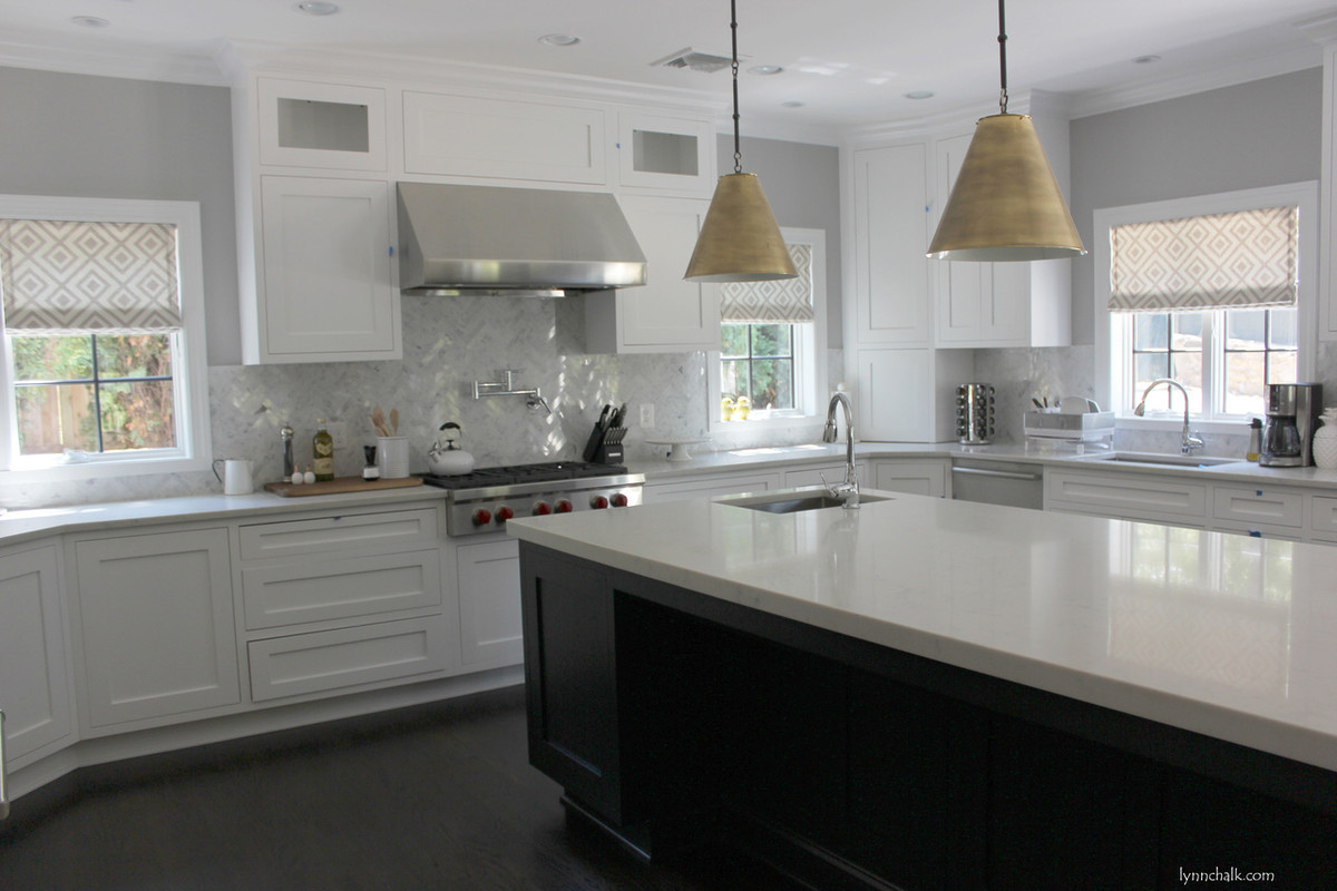 Kitchen Roman Shades In La Fiorentina In Light Grey On Off White Background  ...