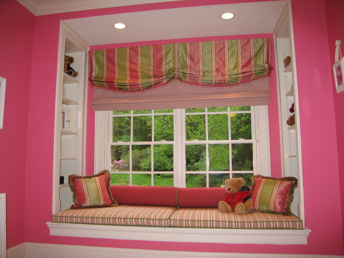 my custom valance roman shades window seat cushions bolsters and pillows appeared in
