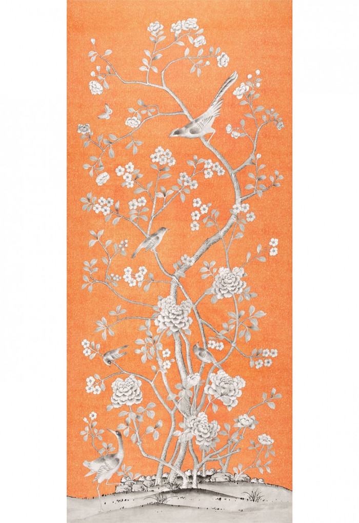 Schumacher Mary McDonald Chinois Palais Tangerine (Priced and Sold by the 3.75 Yard Full Panel)