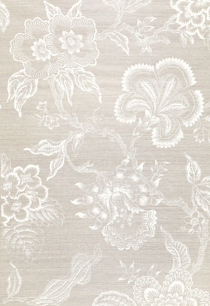 Celerie Kemble for Schumacher Hothouse Flowers Sisal Fog & Chalk Wallpaper