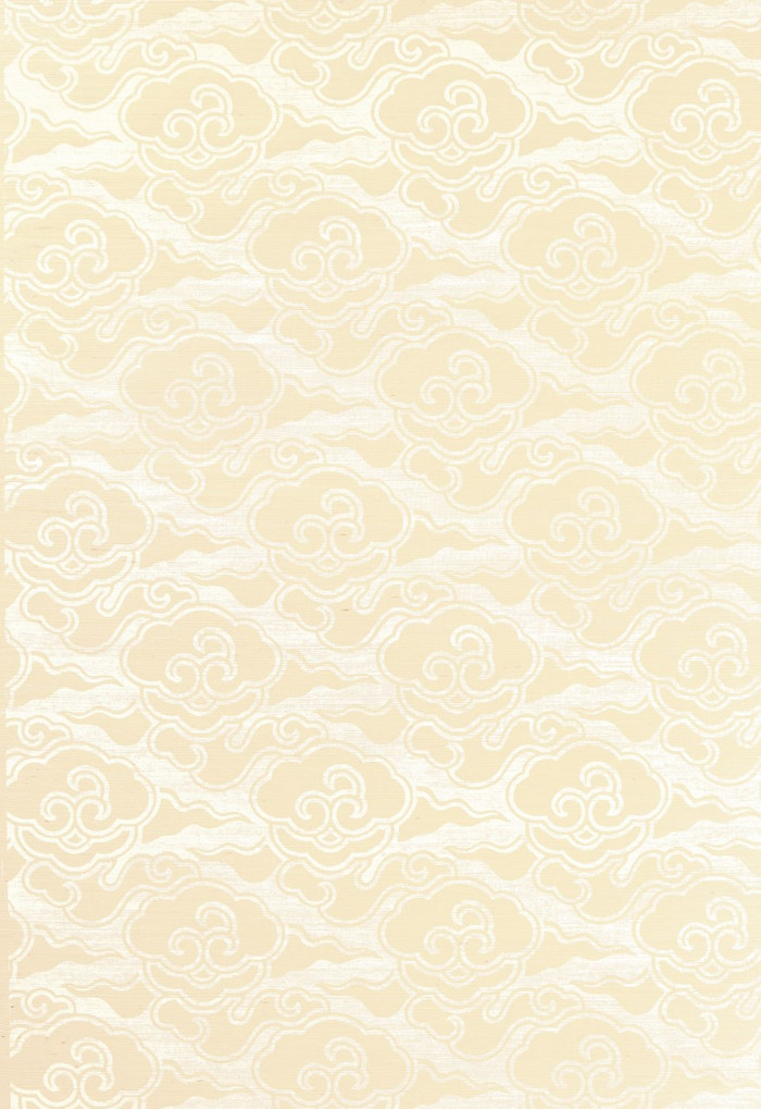 Celerie Kemble for Schumacher Cirrus Clouds Blanched Wallpaper