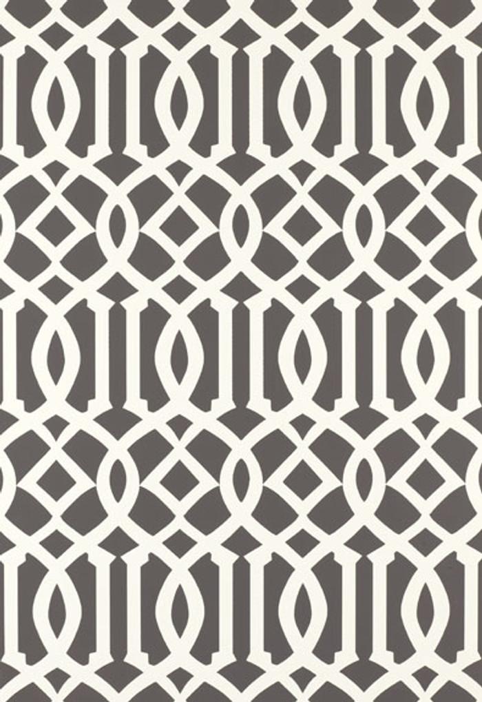 Schumacher Kelly Wearstler Imperial Trellis Charcoal Wallpaper