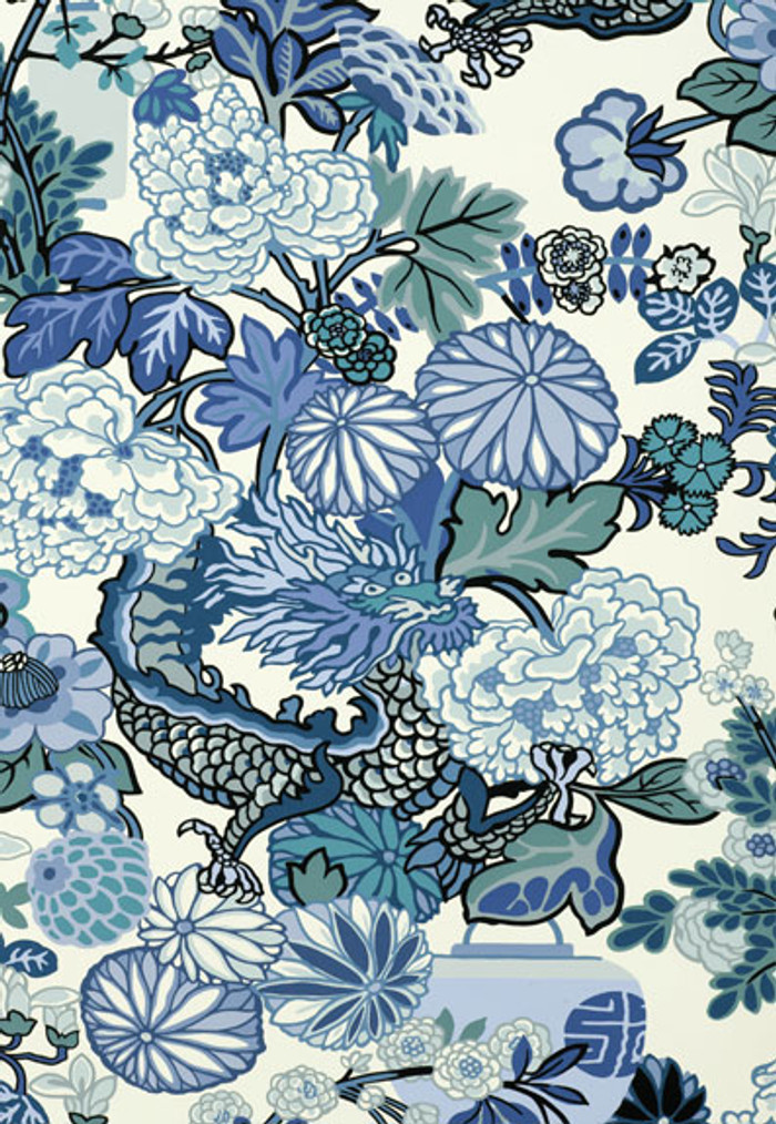 Schumacher Chiang Mai Dragon China Blue Wallpaper 5001062
