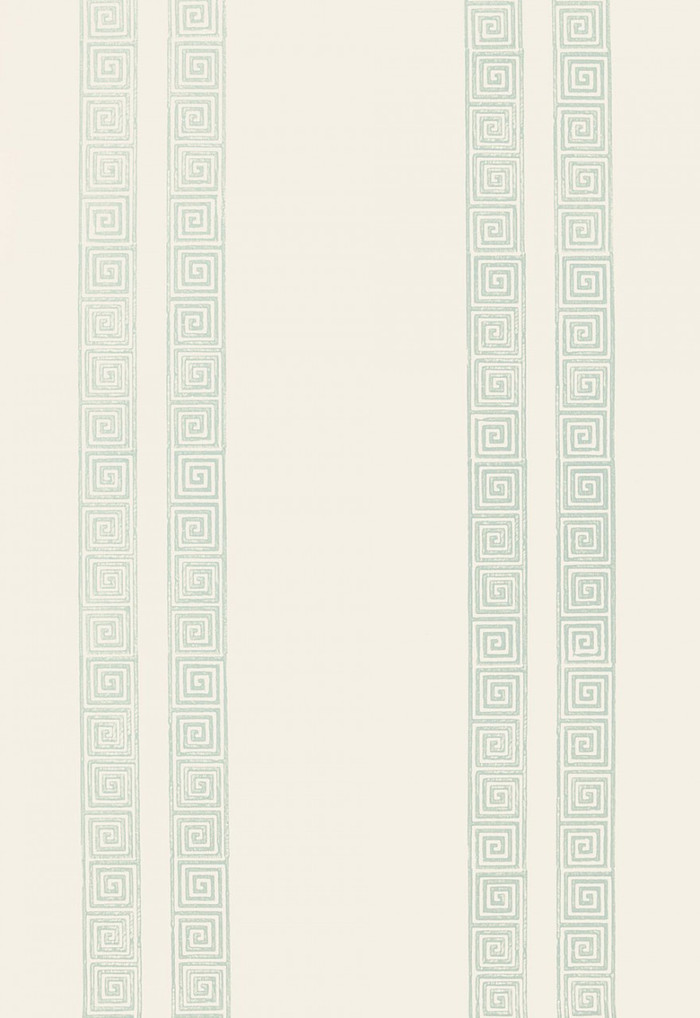 Schumacher Greek Key Stripe Wallpaper Water Blue