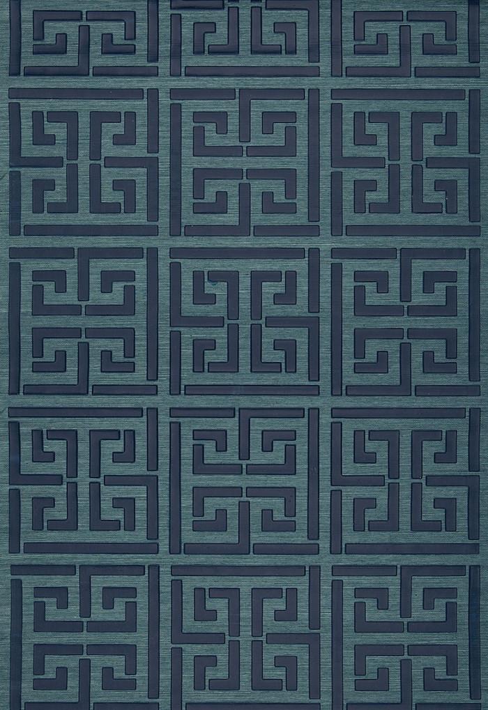 Schumacher Greek Key Sisal Wallpaper Peacock