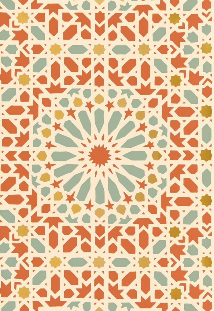 Schumacher Nasrid Palace Mosaic Wallpaper Persimmon