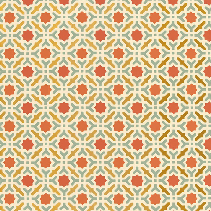 Schumacher Serallo Mosaic Wallpaper Persimmon